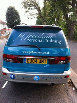 Fit Freedom personal training car from the rear
