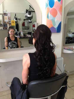 Hair styling in the salon