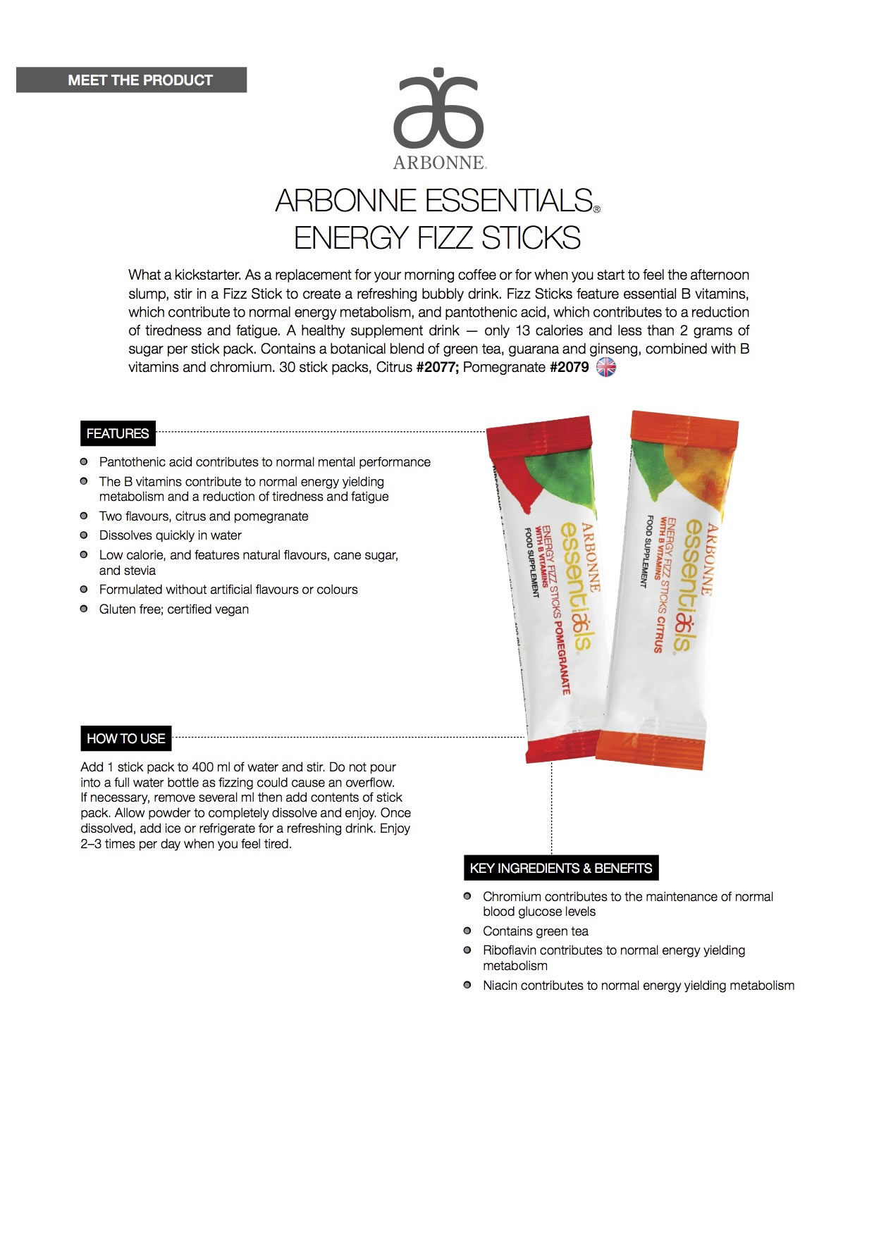 Arbonne Essentials Energy Fizz Sticks
